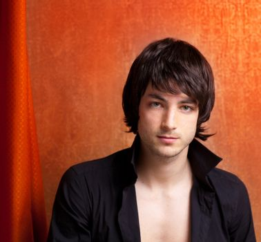 british indie pop rock look young man on orange