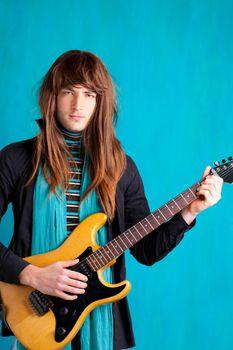 Hard rock seventies electric guitar player man