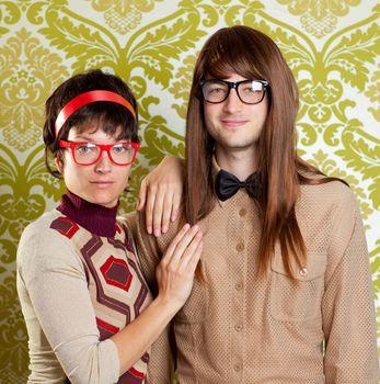 Funny humor nerd couple on vintage wallpaper