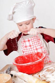 boy with flour