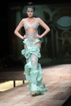 "ZAGREB, CROATIA - MARCH 22: Fashion model wears clothes made by Matija Vuica on ""CRO A PORTER"" show on March 22, 2012 in Zagreb, Croatia."