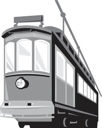 Illustration of a vintage streetcar train tram viewed from a low angle on isolated white background done in retro style.