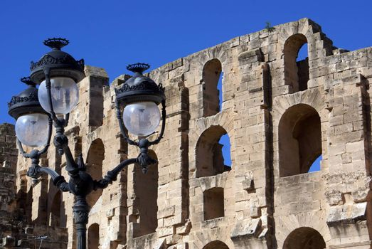 Old street lights near the all of roman theater in El-Jem, Tunisia