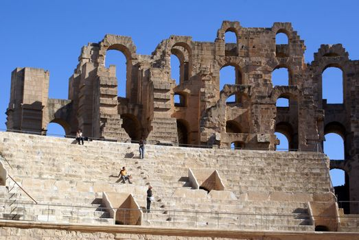 In roman theater in El-Jem, Tunisia