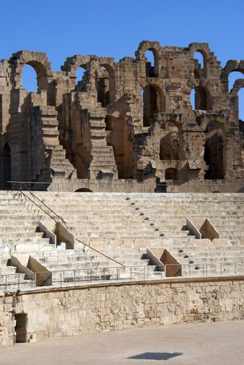 Inside old roman amphitheater in El-Jem, Tunisia