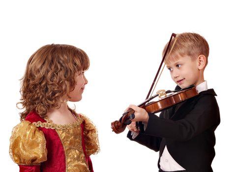 boy and little girl romance
