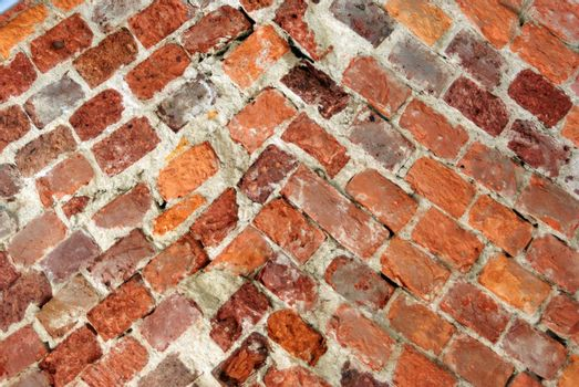 Texture of old weathered brick wall for backgrounds