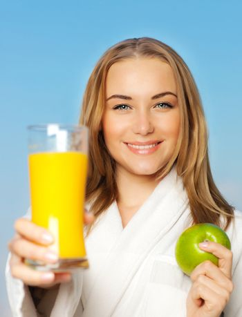 Healthy lovely young woman dieting