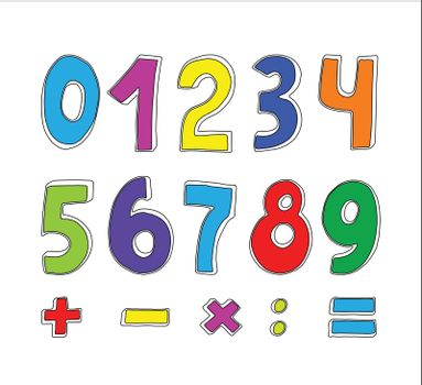 vector set of color numbers on white