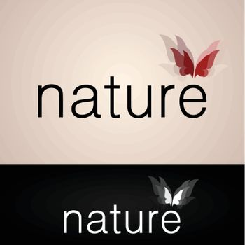Word the nature with the butterfly. A vector illustration