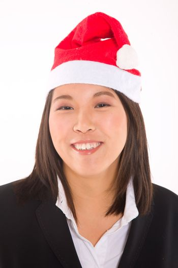 asian businesswoman with santa hat