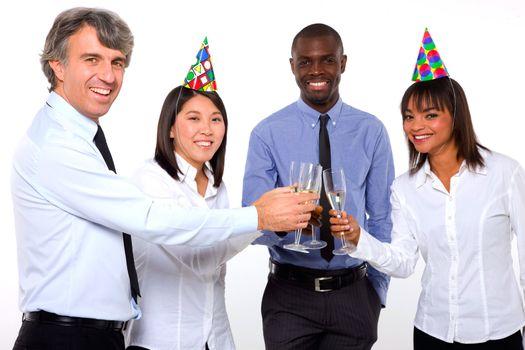 multi-ethnic team toasting