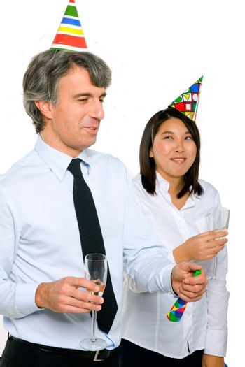 businessman and businesswoman toasting