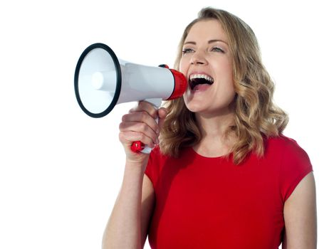 Gorgeous female with megaphone