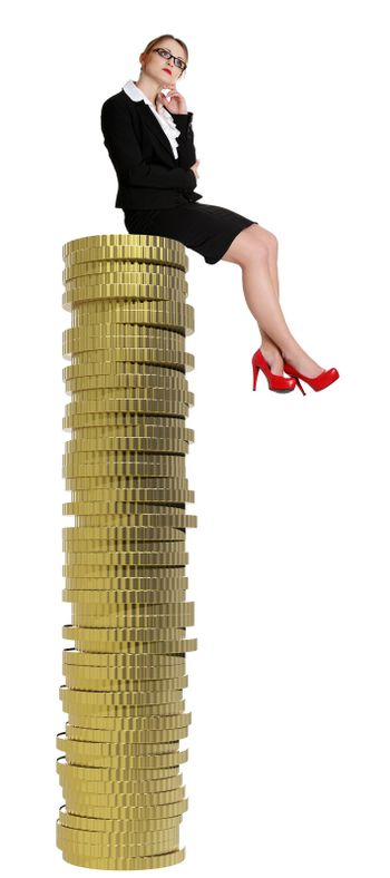 Businesswoman sitting on gold coin currency.