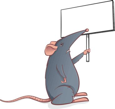 Cartoon mouse with a sign