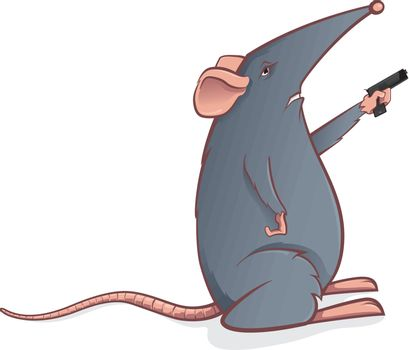 Cartoon mouse with a pistol