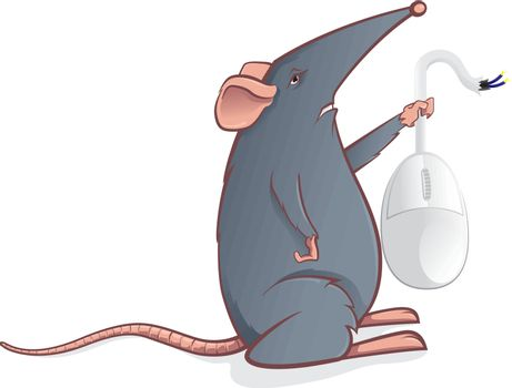 Cartoon mouse with a computer mouse