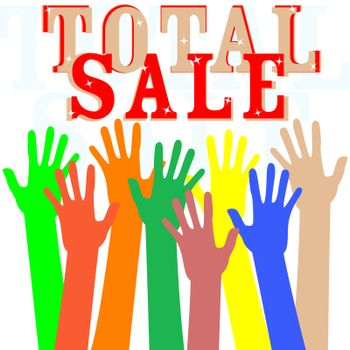 Hand with total sale word isolated in white. vector