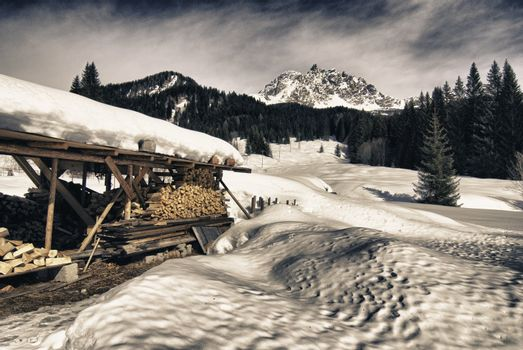 Beautiful Wintertime Landscape of Dolomites