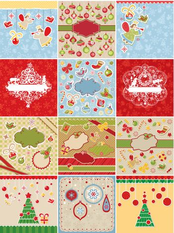 set of Christmas cards and design elements