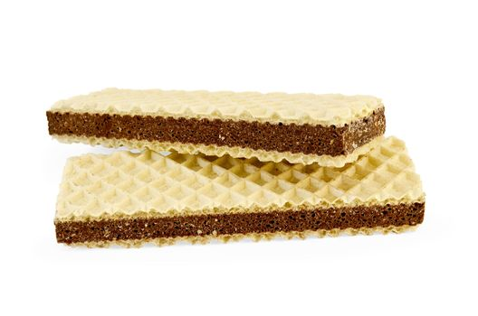 Wafers with a layer of porous chocolate