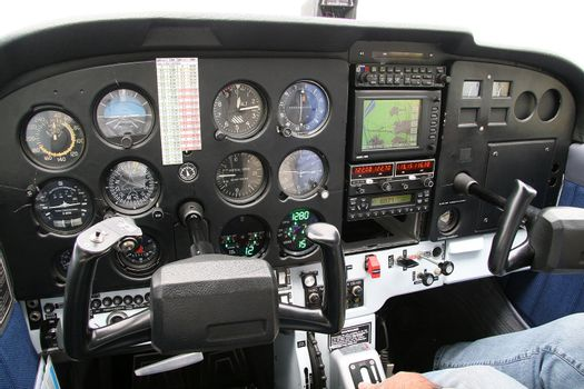 Cockpit of a small aircraft