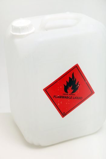 Plastic Container With Flammble Label