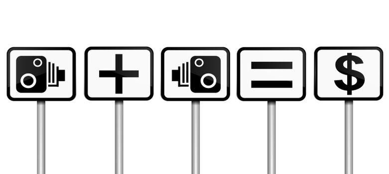 Illustration depicting road signs with speed camera financial gain concept. White gradient background.