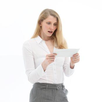 Woman reading bad news