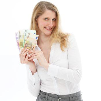 Successful woman showing winnings