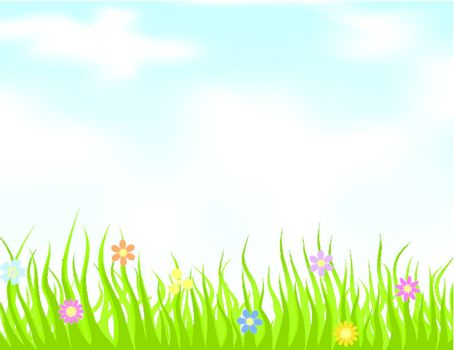 Grass on a meadow and the blue sky. A vector illustration
