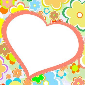 beautiful bright flower love heart. vector card