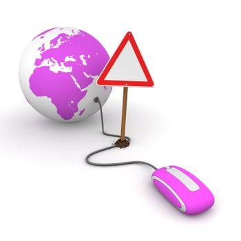 Surfing the Web in Purple - Blocked by a Triangular Warning Sign