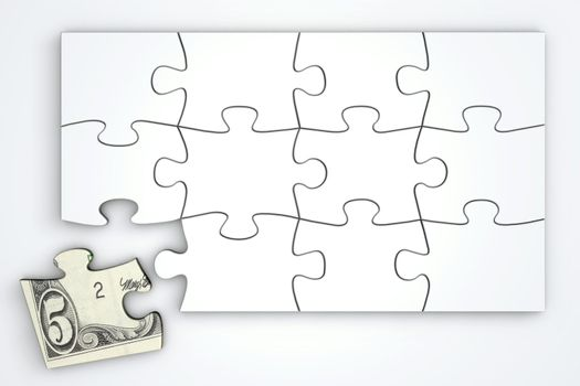 5 Dollar Note Puzzle Template - Top View