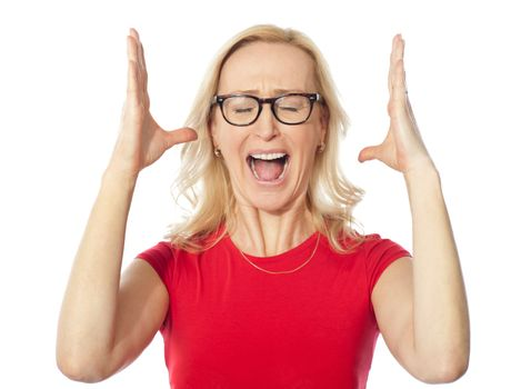 Frustrated aged woman shouting