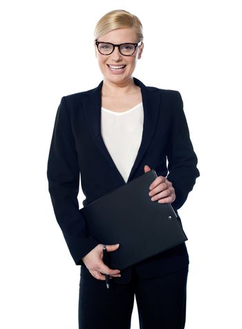 Attractive femaleholding business documents