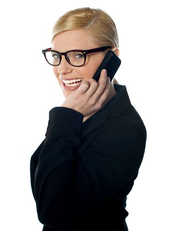 Female manager attending phone call