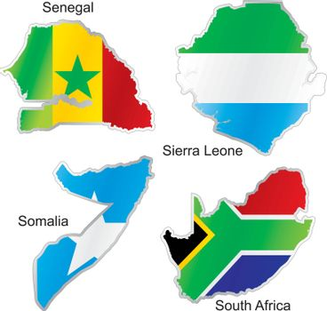 fully editable vector illustration of isolated international flags in map shape