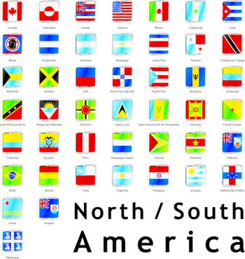 fully editable vector illustration of isolated americans flags