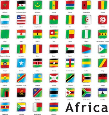 fully editable vector illustration of isolated african flags