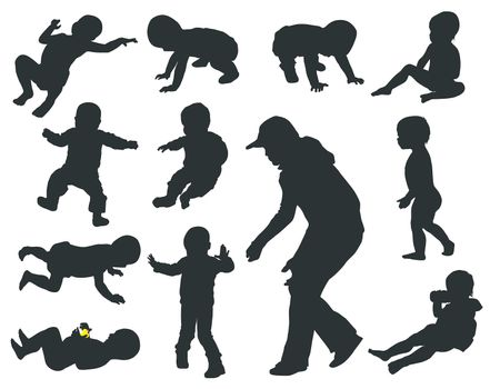 Baby silhouettes collection. Vector eps8
