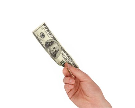 A man's hand holding a one hundred dollar bill