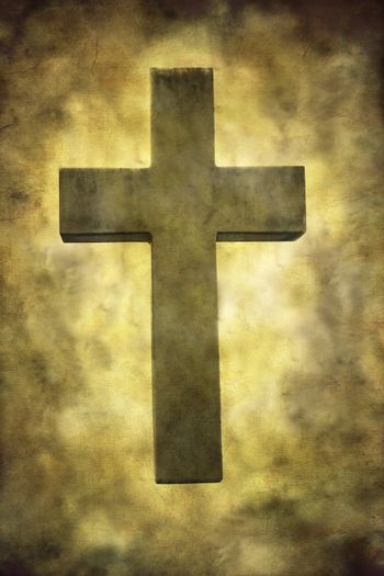 A stone cross textured in a grungy style.