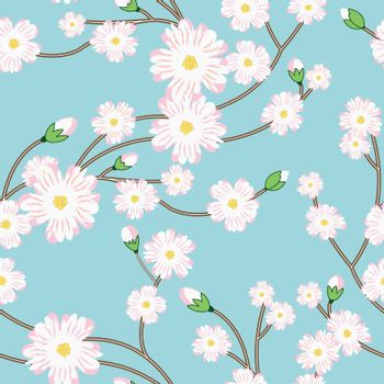Seamless pattern with tree blossoming brunch. Vector illustration