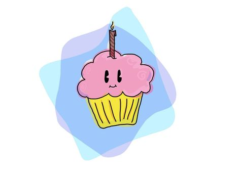 A cute, kawaii pink birthday cupcake with candle on blue backdrop.