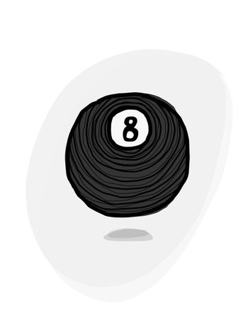 An illustration of a billiard 8 ball with grey backdrop and shadows.
