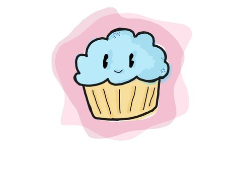 An illustration of a kawaii faced cupcake with blue frosting on pink backdrop.