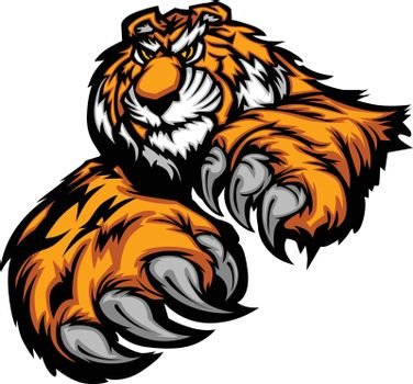 Tiger Mascot Body with Paws and Claws