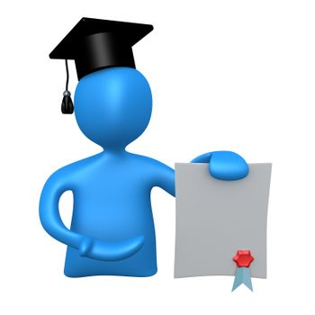 3d graduate holding a diploma .